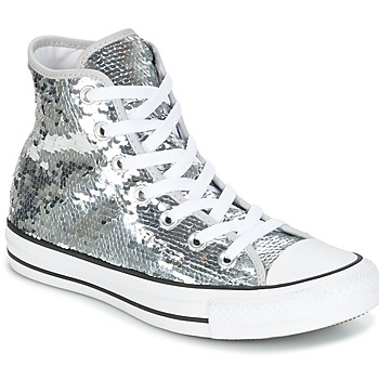 Shoes Women Hi top trainers Converse CHUCK TAYLOR ALL STAR SEQUINS HI SILVER/WHITE/BLACK Silver