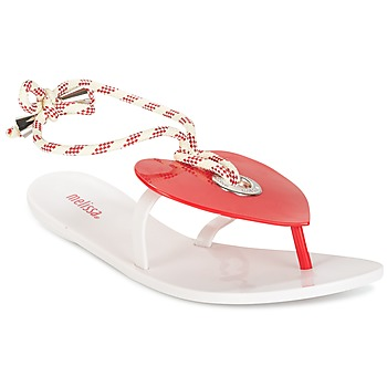 Shoes Women Flip flops Melissa BLISS II SP AD White / Red