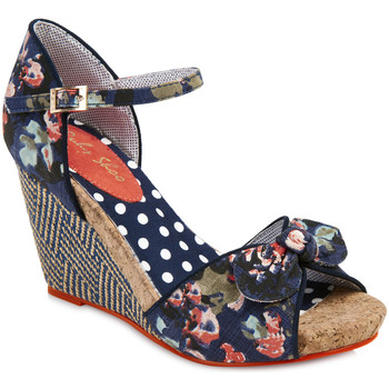 Shoes Women Sandals Ruby Shoo Ruby Shoo Ladies Molly Wedge Heel Sandal Floral (Navy Blue)