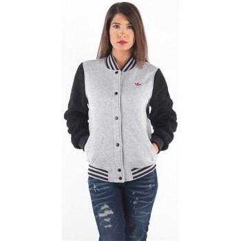 Clothing Women Jackets adidas Originals Bulls Varsity J Black-Grey