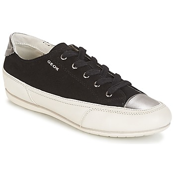 Shoes Women Low top trainers Geox D N.MOENA D - SCAM.STA+VIT.CER  BLACK / Off / White