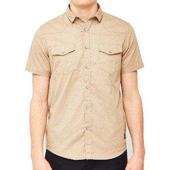 Clothing Men short-sleeved shirts The Idle Man Cotton Twill Utility Shirt Beige