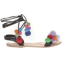 Shoes Women Sandals Vera & Lucy Sandale Noir avec pompons 900-2 Black