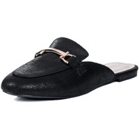 Shoes Women Sandals Spylovebuy CANDY Flat Backless Loafer Shoes - Black Leather Style Black