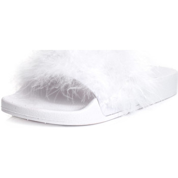 Shoes Women Mules Spylovebuy ELESIA Faux Feather Sliders Flat Sandals Shoes - White Rubber White