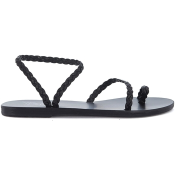 Shoes Women Sandals Ancient Greek Sandals Eleftheria black woven leather sandal Black
