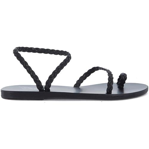Shoes Women Sandals Ancient Greek Sandals Eleftheria black woven leather sandal Black