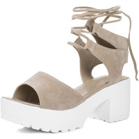 Shoes Women Sandals Spylovebuy Molly Open Peep Toe Mid Heel Sandals Shoes - Nude Suede Style Pink