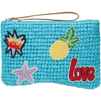 Bags Women Pouches / Clutches Lollipops Straw patches clutch BLUE
