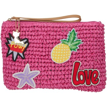 Bags Women Pouches / Clutches Lollipops Straw patches clutch PINK