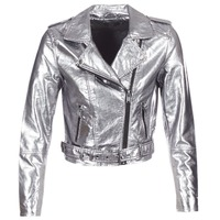 Clothing Women Leather jackets / Imitation leather Only ANN Silver