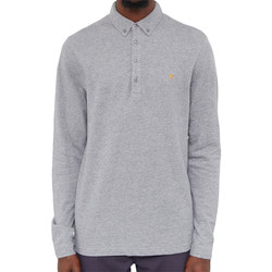 Clothing Men long-sleeved polo shirts Farah Merriweather Long Sleeve Polo Grey