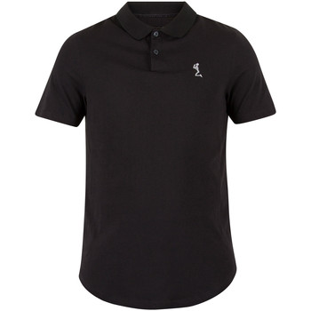 Clothing Men short-sleeved polo shirts Religion Men's Curved Hem Logo Polo Shirt, Black black