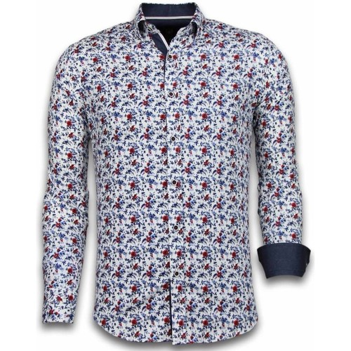 Clothing Men Long-sleeved shirts Tony Backer s   Long Sleeve   Painted Flower Pattern White