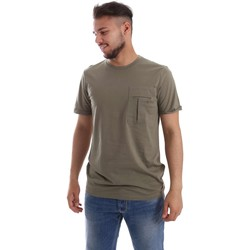 Clothing Men short-sleeved t-shirts Gaudi 71FU64010 T-shirt Man Verde Verde