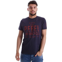 Clothing Men short-sleeved t-shirts Ransom&co T-020REBEL T-shirt Man Blue Blue