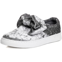 Shoes Women Low top trainers Spylovebuy GEORGIE Knotted Bow Flat Trainers Shoes - Grey Velvet Style Grey