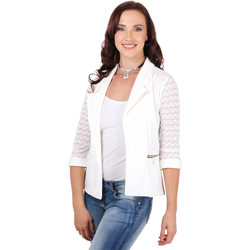 Clothing Women Jackets / Blazers Krisp 3/4 Lace Sleeve Blazer {Cream} White