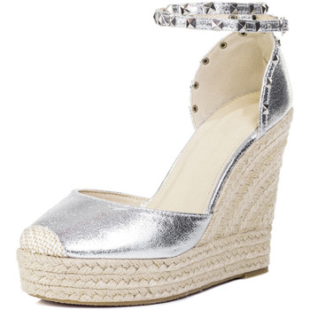 Shoes Women Espadrilles Spylovebuy Carley Espadrille Studded Wedge Heel Strappy Sandals Shoes - Si Silver