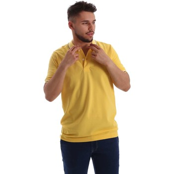 Clothing Men short-sleeved polo shirts Key Up 2Q70G 0001 Polo Man Yellow Yellow