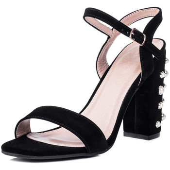 Shoes Women Sandals Spylovebuy COCO Embellished Pearl High Heel Strappy Sandals Shoes - Black Black