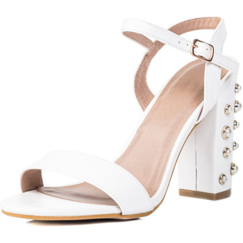 Shoes Women Sandals Spylovebuy COCO Embellished Pearl High Heel Strappy Sandals Shoes - White White