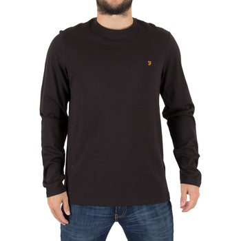 Clothing Men jumpers Farah Vintage Men's Denny Slim Longsleeved Logo T-Shirt, Black black