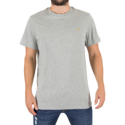 Clothing Men short-sleeved t-shirts Farah Vintage Men's Denny Slim Solid Logo T-Shirt, Grey grey