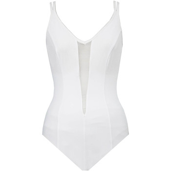 Clothing Women Swimsuits Miraclesuit 1 Piece Swimsuit  Plunge Solid Mesh White WHITE