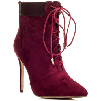 Shoes Women Ankle boots Spylovebuy RIPLEY Lace Up High Heel Stiletto Ankle Boots Shoes - Cranberry Red
