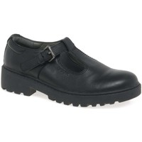Shoes Girl Loafers Geox Junior Casey T-Bar Senior Girls School Shoes black