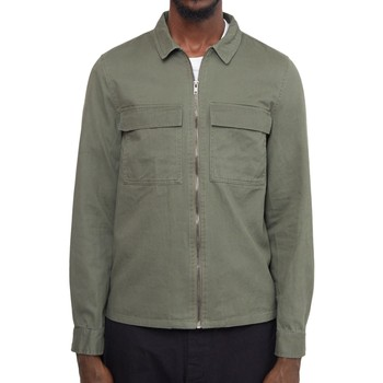 Clothing Men Jackets The Idle Man Zip Through Overshirt Green