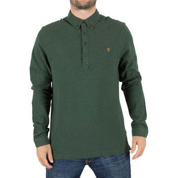 Clothing Men long-sleeved polo shirts Farah Vintage Men's Merriweather Longsleeved Logo Polo Shirt, Green green