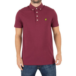 Clothing Men short-sleeved polo shirts Lyle & Scott Men's Woven Collar Logo Polo Shirt, Red red