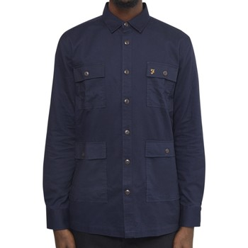 Clothing Men long-sleeved shirts Farah Mangrove Four Pocket Overshirt Navy