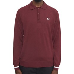 Clothing Men long-sleeved polo shirts Fred Perry Long Sleeve Cuff Knit Polo Shirt Burgundy
