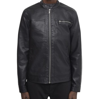 Clothing Men Leather jackets / Imitation leather The Idle Man Faux Leather Racer Jacket Black