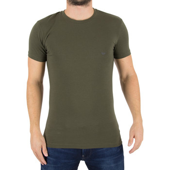 Clothing Men short-sleeved t-shirts Armani Men's Crew Neck Logo T-Shirt, Green green