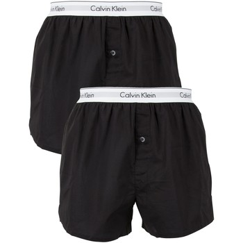 Underwear Men Boxer shorts Calvin Klein Jeans 2 Pack Logo Slim Fit Woven Boxers black