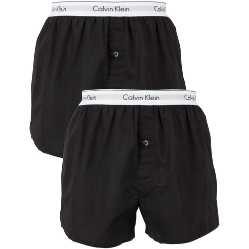 Underwear Men Boxer shorts Calvin Klein Jeans 2 Pack Logo Slim Fit Woven Boxers black