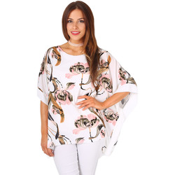 Clothing Women Tops / Blouses Krisp Floral Kimono Sleeve Boxy Top White