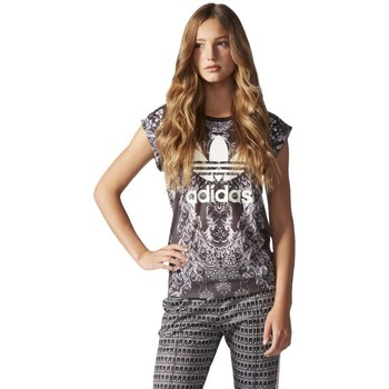 Clothing Women short-sleeved t-shirts adidas Originals Pavao Tee White-Black