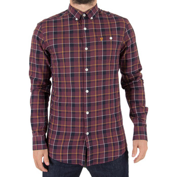 Clothing Men long-sleeved shirts Farah Vintage Men's Oldman Check Twill Shirt, Red red