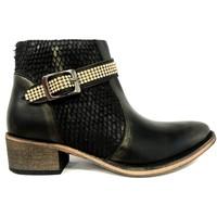 Shoes Women Mid boots Ilario Ferucci Bottines Flower Cuir Noir Black