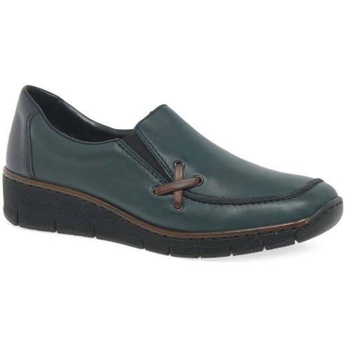Shoes Women Loafers Rieker Gala Womens Casual Wedge Heel Shoes blue