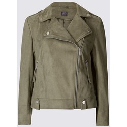 Clothing Women Jackets Ex Marks & Spencer Womens Khaki Faux Suede Biker Jacket Green
