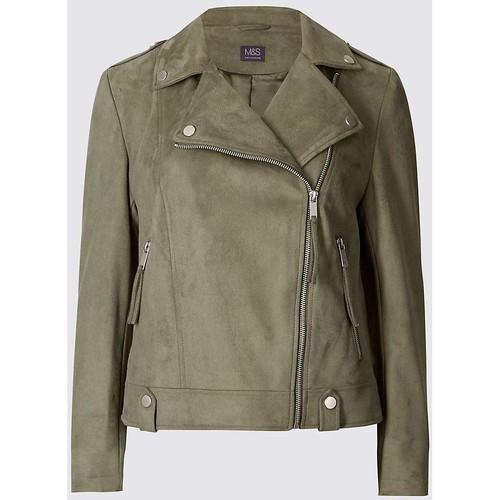 Clothing Women Jackets / Blazers Ex Marks & Spencer Women`s Khaki Faux Suede Biker Jacket Green