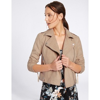 Clothing Women Jackets Ex Marks & Spencer Womens Khaki Faux Suede Biker Jacket BEIGE