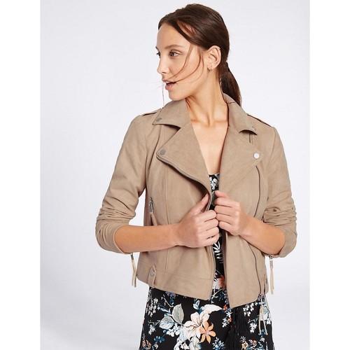Clothing Women Jackets / Blazers Ex Marks & Spencer Women`s Beige Faux Suede Biker Jacket BEIGE