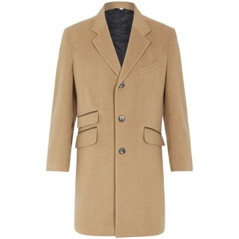 Clothing Men coats De La Creme Classic- Mens CAMEL Wool Cashmere Winter Slim Fit Luxury Coat BEIGE